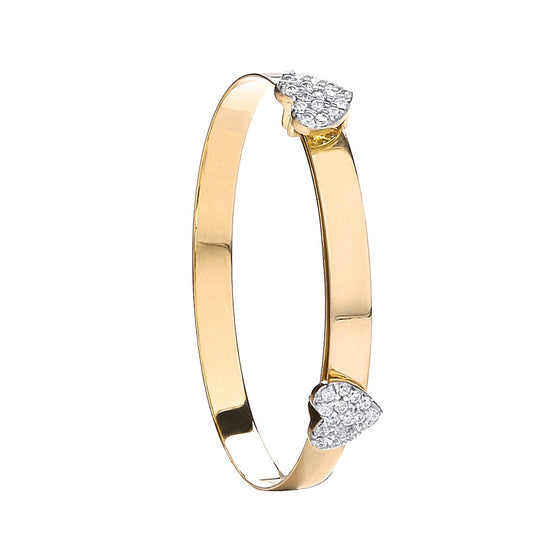 Yellow Gold Expandable Baby Bangle Two Cz Heart TGC-BN0414
