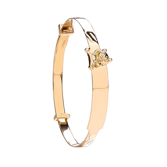 Yellow Gold Expandable Baby ID Bangle With Teddy on ID TGC-BN0415