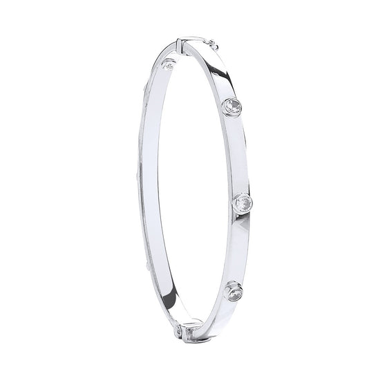 White Gold Hollow Oval Baby Cz Bangle TGC-BN0416