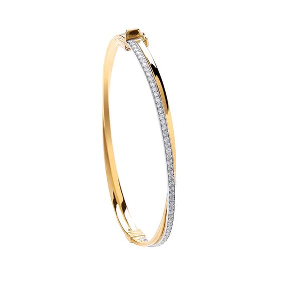 Yellow Gold X Over Cz Ladies Bangle  TGC-BN0420