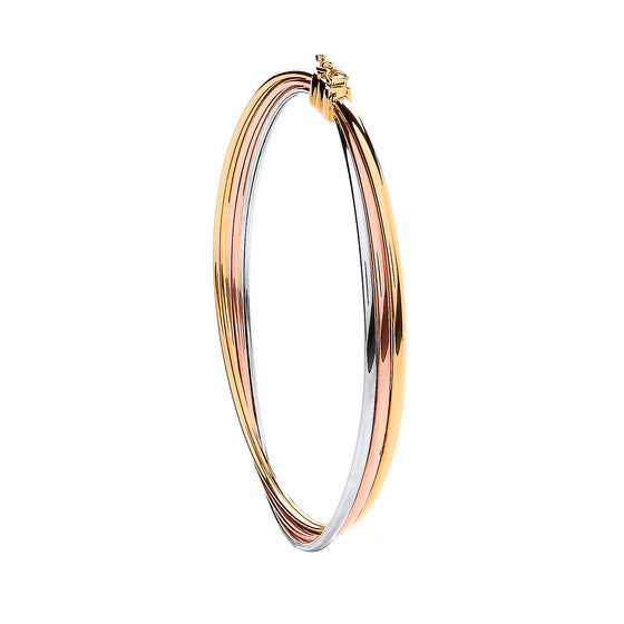 Yellow White & Rose Gold Russian Wedding Bangle  TGC-BN0426