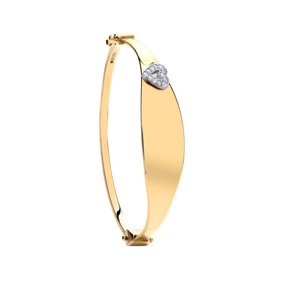 Yellow Gold Oval ID with Cz Heart Baby Bangle  TGC-BN0430