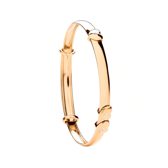 Yellow Gold Expandable Baby Bangle with Floating Cz Heart TGC-BN0433