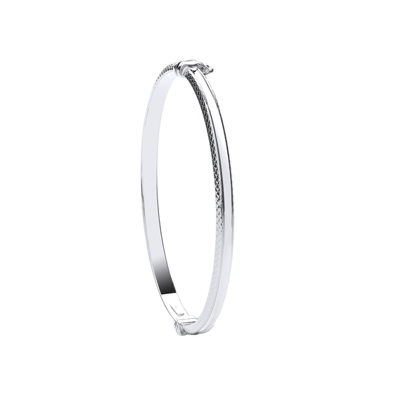 White Gold D/C Edge Fancy Bangle TGC-BN0435