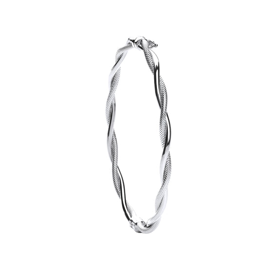 White Gold Ribbed & Plain Tubes Twisted Bangle TGC-BN0436