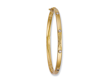 Yellow Gold Hollow Cz Oval Bangle TGC-BN0161