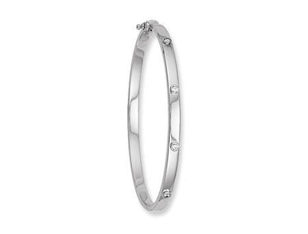 White Gold Hollow Cz Oval Bangle TGC-BN0186