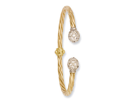 Yellow Gold Hinghed Twisted Cz Torque Bangle TGC-BN0193