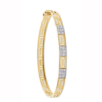Yellow Gold Cz Greek Key Bangle TGC-BN0385