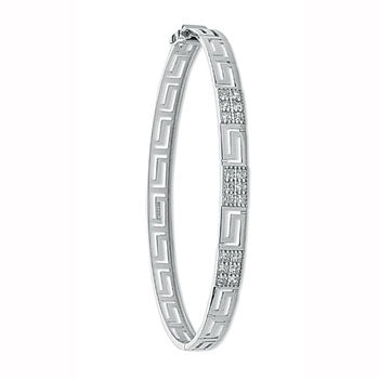 White Gold Cz Greek Key Bangle TGC-BN0386