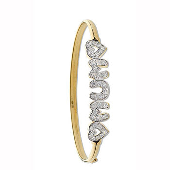 Yellow Gold Cz Heart / Mum Bangle TGC-BN0388