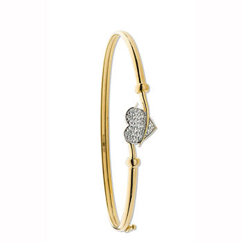 Yellow Gold Cz Heart Bangle TGC-BN0389