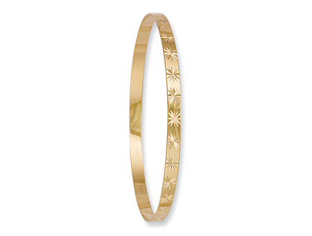 Yellow Gold 4mm D/C Slave Bangle TGC-BN0041