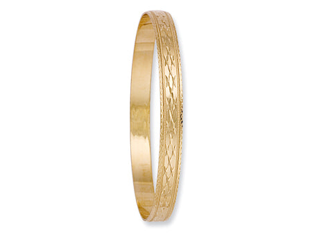 Yellow Gold 6mm D/C Slave Bangle TGC-BN0045