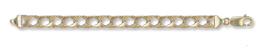 Yellow Gold Plain & Bark Casted Curb Baby Bracelet TGC-BR0003