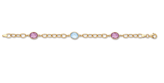 Yellow Gold Genuine Amethyst & Blue Topaz Bracelet TGC-BR0598