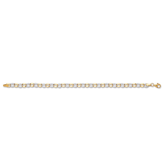 White & Yellow Gold Oval Hollow Link Bracelet  TGC-BR0600