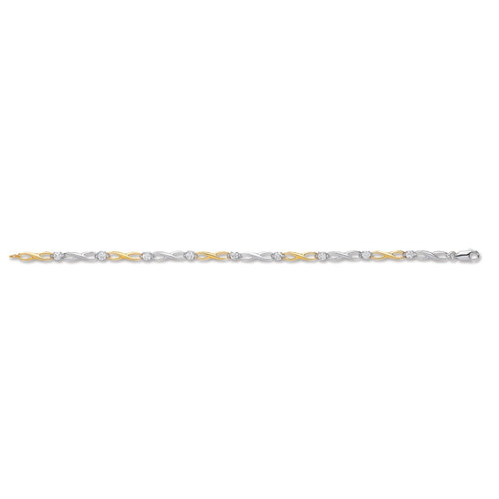 White & Yellow Gold Figure of 8 link with CZ's Ladies Bracelet  TGC-BR0601