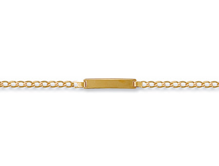 Yellow Gold Ladies Curb ID Bracelet TGC-BR0010-LB