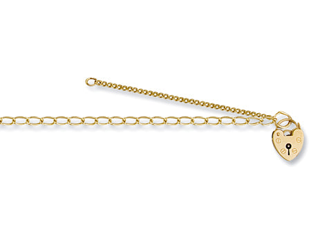 Yellow Gold Open Curb & Padlock Charm Ladies Bracelet TGC-BR0013-LB