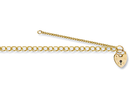 Yellow Gold Open Curb & Padlock Charm Ladies Bracelet TGC-BR0014