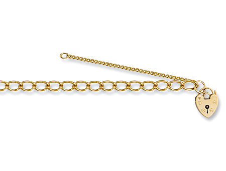 Yellow Gold Open Curb & Padlock Charm Bracelet TGC-BR0015