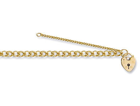 Yellow Gold Open Curb & Padlock Charm Bracelet TGC-BR0016