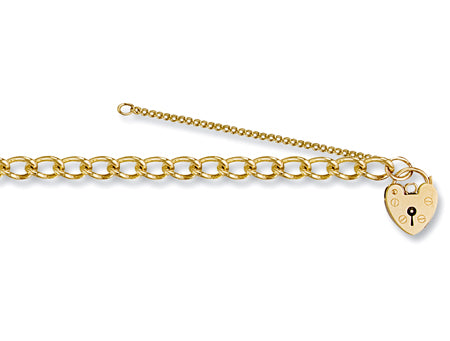 Yellow Gold Open Curb & Padlock Charm Bracelet TGC-BR0017