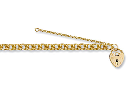 Yellow Gold Tight Link Curb & Padlock Charm Bracelet TGC-BR0019