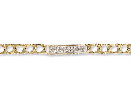 Yellow Gold Casted Curb Baby Cz ID Bracelet TGC-BR0223