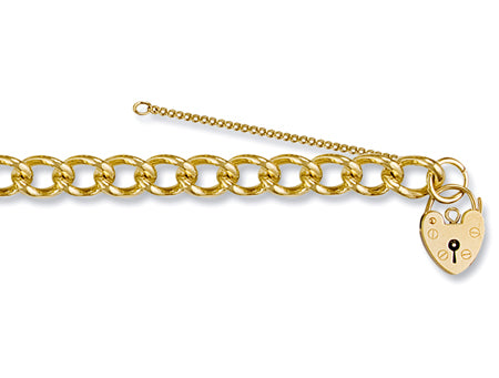 Yellow Gold Open Curb & Padlock Charm Bracelet TGC-BR0023
