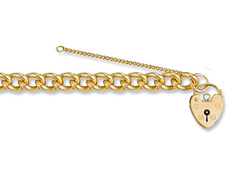 Yellow Gold Tight Link Curb & Padlock Charm Bracelet TGC-BR0024