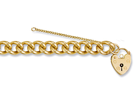 Yellow Gold Tight Link Curb & Padlock Charm Bracelet TGC-BR0025
