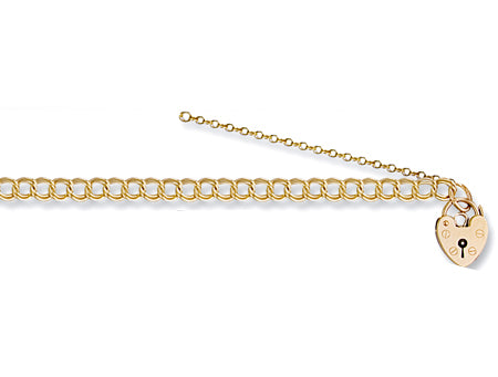 Yellow Gold Double Link Curb & Padlock Charm Bracelet TGC-BR0032