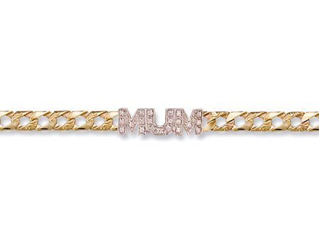 Yellow Gold Casted Cz Mum Bracelet TGC-BR0334