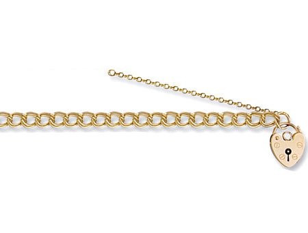 Yellow Gold Double Link Curb & Padlock Charm Bracelet TGC-BR0033