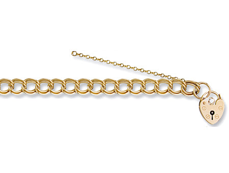 Yellow Gold Double Link Curb & Padlock Charm Bracelet TGC-BR0035