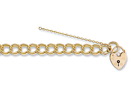 Yellow Gold Double Link Curb & Padlock Charm Bracelet TGC-BR0036