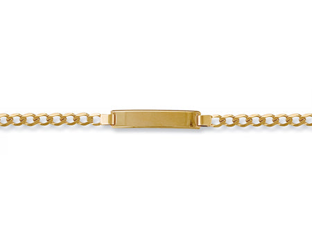 Yellow Gold Ladies Curb ID Bracelet TGC-BR0398-LB