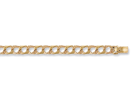 Yellow Gold Plain & Bark Casted Curb Baby Bracelet TGC-BR0004