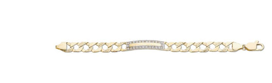 Yellow White Gold Plain & Bark Casted Curb Baby ID Bracelet TGC-BR0560