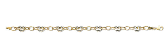White & Yellow Gold Fancy Heart Linked Bracelet TGC-BR0567