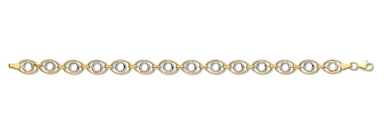 White & Yellow Gold Fancy Oval Linked Bracelet TGC-BR0581