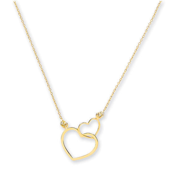 "Yellow Gold Rolo Chain, Two Hearts, Adjustable from 18"" to 16""/14"" TGC-CN0546"