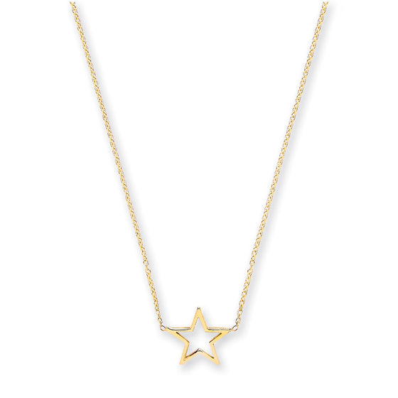 "Yellow Gold Rolo Chain with Star Adjustable from 18"" to 16""/14"" TGC-CN0549"