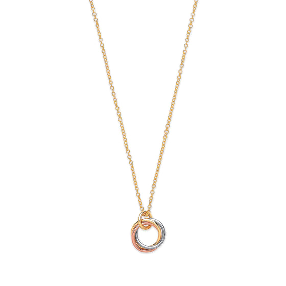 "Yellow, White and Rose Gold Interlinked Hollow Rings 18""/17"" Necklace TGC-CN0571"