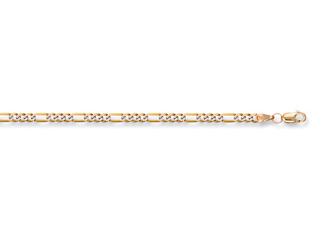 Yellow Gold Rhodium Plated Figaro Chain TGC-CN0243-LB