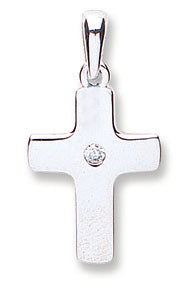 White Gold Cz Cross TGC-CX0184