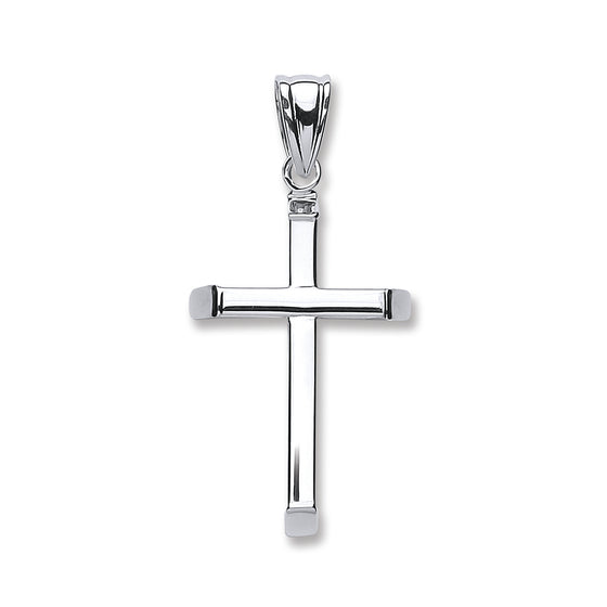White Gold Plain Hollow Cross TGC-CX0198