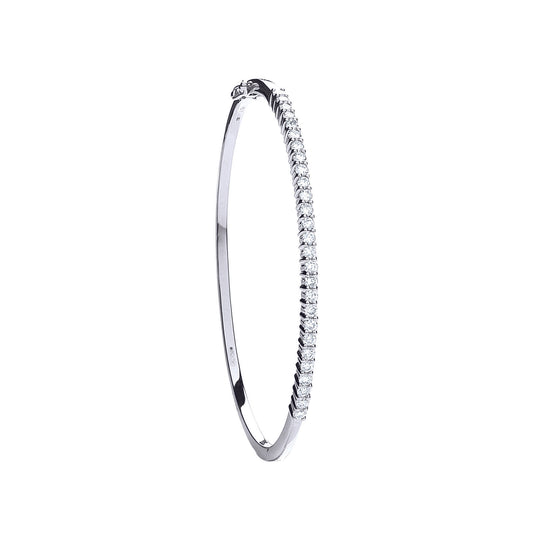 18ct White Gold 1.15ct Diamond Bangle TGC-DBN0047
